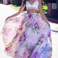 Мода BOHO Для женщин Цветочный Джерси Цыганский длиной макси юбкой летние пляжные юбки солнце