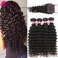 Sassy Girl Бразильские Глубокая Волна Девственные Волосы С Закрытием Бразильские Волосы С Закрытием Tissage Bresilienne Avec Закрытие Глубокая Волна