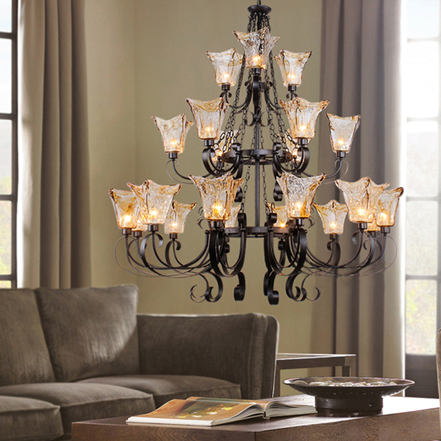 Traditonal3 Layer Luxury Black Chandelier Luz Large Crystal Lampe Cristal Lustres Hotel Living Room Interior
