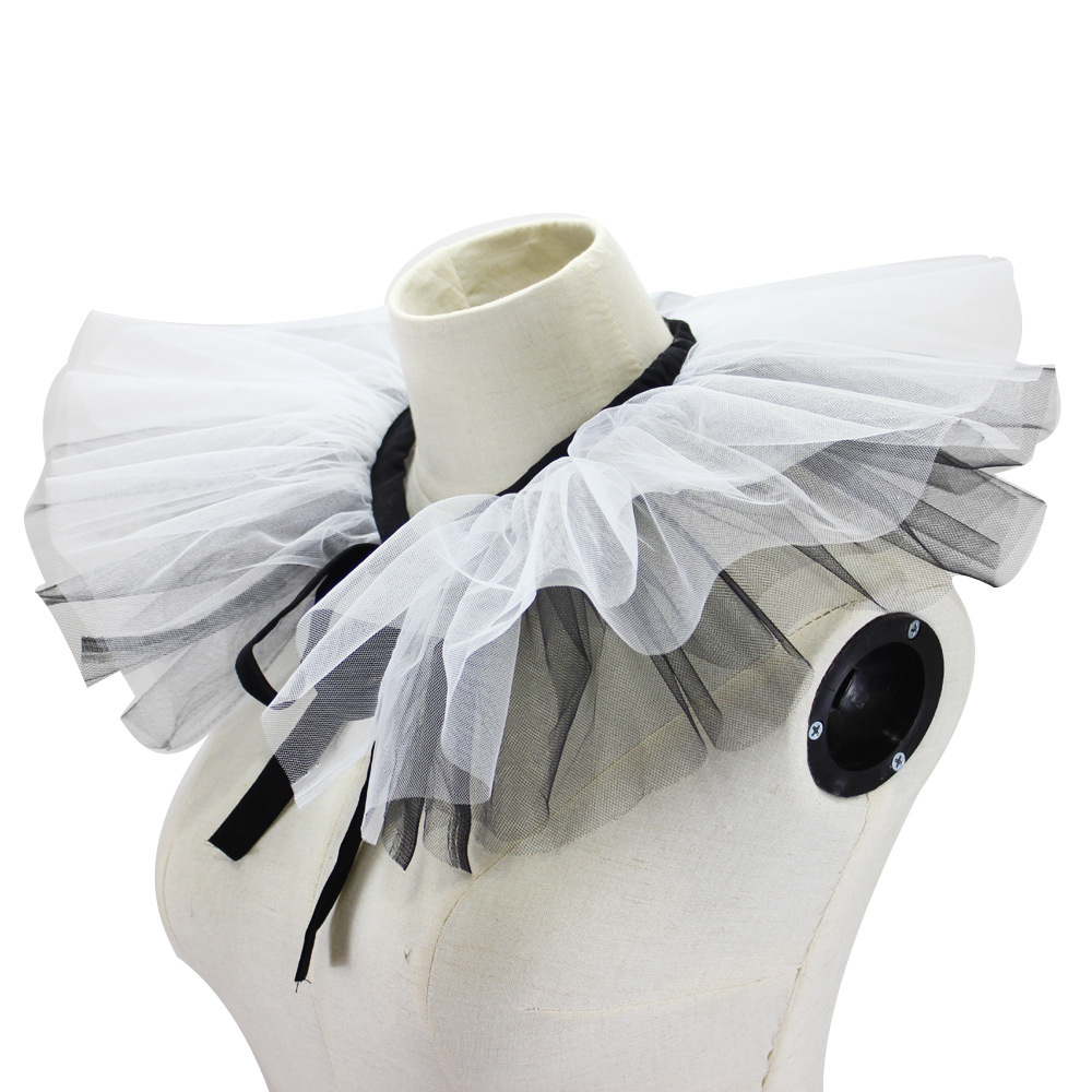2019 Jaderic Fake Collar For Women Detachable Ruffle Collar Black&white Grenadine Fake Collar, Vintage Ladies Faux Collar