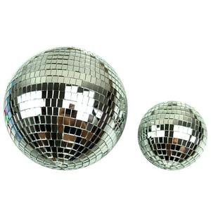 Image 1 - 1 個直径 10/12/15/20 センチメートルミラーボール反射装飾ボールバーディスコボールウェディングガラスボールケーキ装飾ゴールド/ホワイト