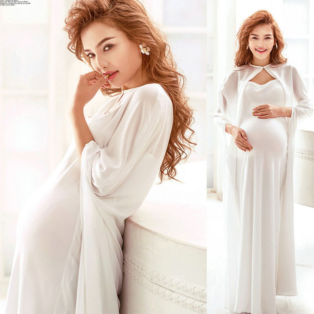 f0b1acf34922f White Maternity Gown Photography Props Clothes Pregnant Clothing Women Long Dress  Photo Shoot Pregnant Shooting 2016