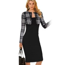Winter Women Slim Plaid Tartan Outwear Tops Bodycon Tube Pencil Midi Dress