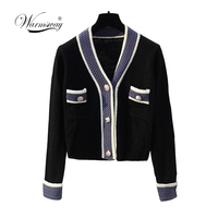 Well made Coarse wool knit cardigan 2019 Autumn Winter Hit Color V neck Single Breasted Knit Coat Women Casual Sweater C 208