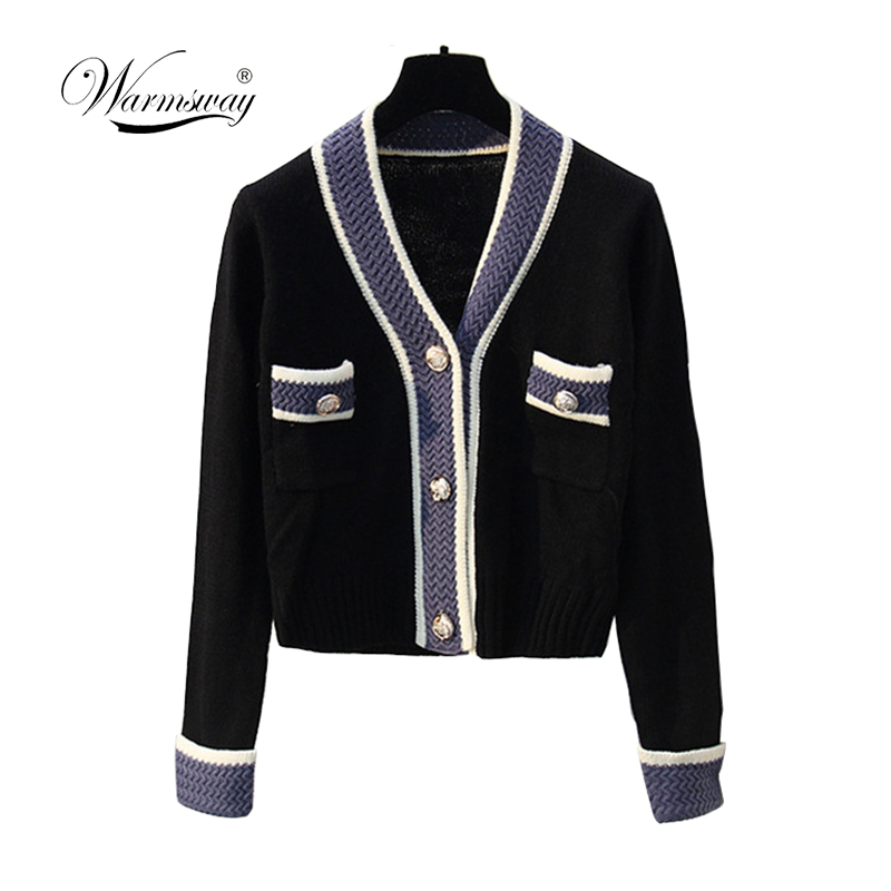 Well Made Coarse Wool Knit  Cardigan 2019 Autumn Winter Hit Color V-neck Single Breasted Knit Coat Women Casual Sweater C-208