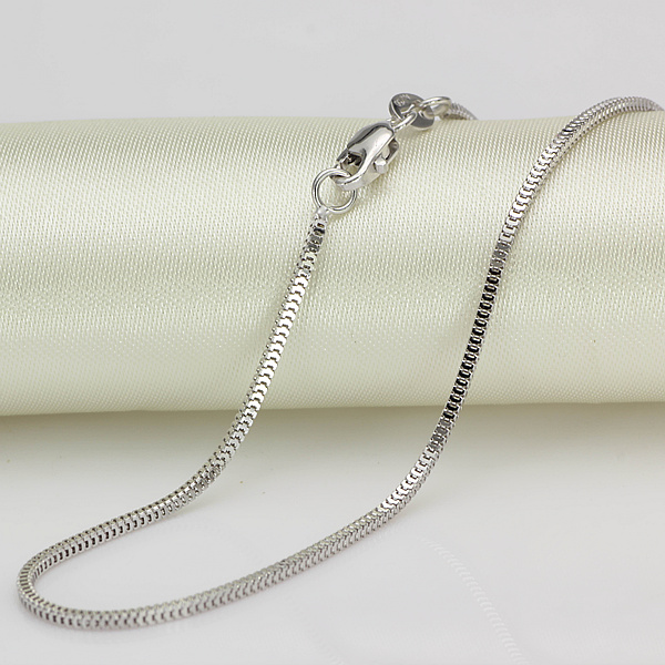 """Pure 18K White Gold Necklace 1.5mmW Milan Box Chain Link 17.7""""L 2-2.5g"""