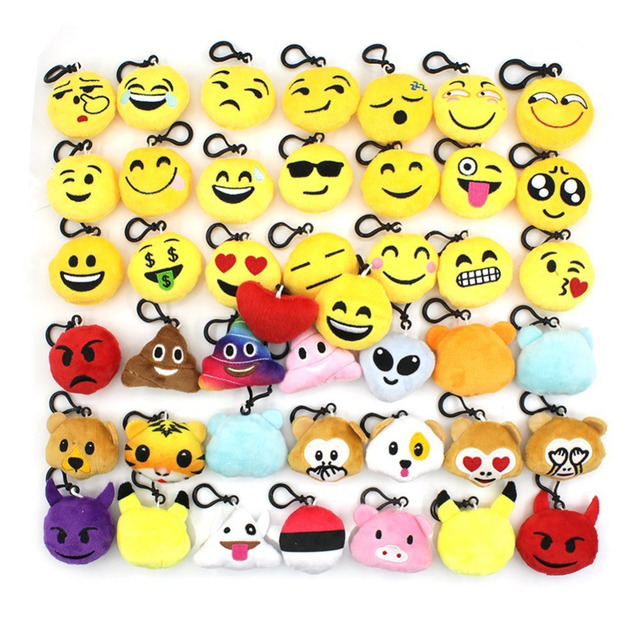 For Emoji Keyrings 44 Pieces/Pack, Lovely Mini Plush KeyChains 2 inch for Kids Gift 1