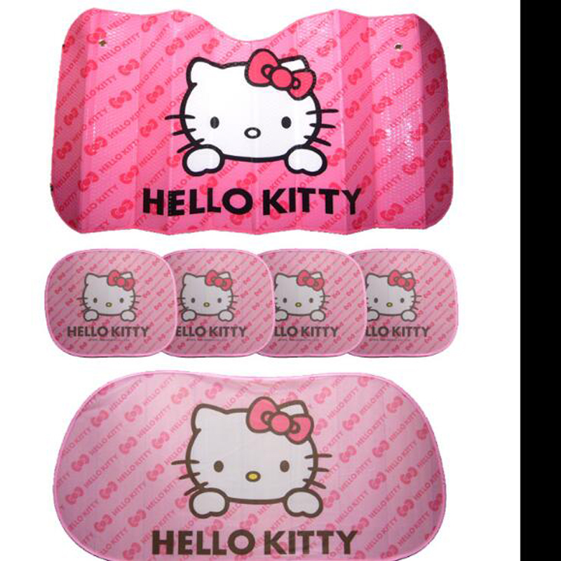 5pcs Hello Kitty Sun Visors Shade Car Cover Windshield Auto Front and Side Rear