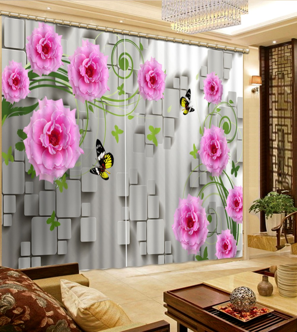 Curtains Home Interior: Fashion 3D Home Decor Beautiful Brick Pink Flower Custom