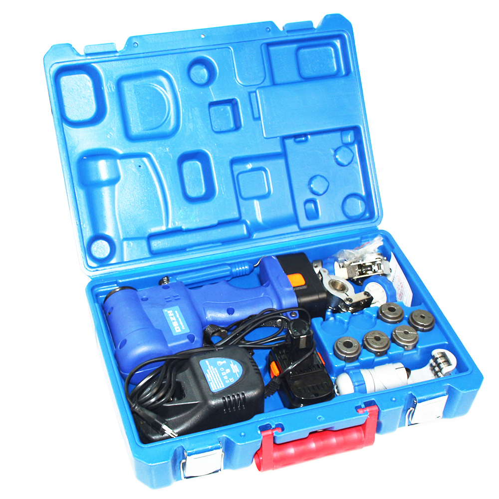 Free shipping Cordless Electric Flaring Tool Kit with Scraper Tube cutter Spare Battery Steel Bar CT