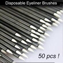 Escova delineador líquido descartável 50 peças, delineador escova maquiagem dos olhos ferramentas de beleza cosmética para mulheres