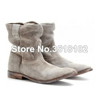 New Arrival Black Gray Suede Ankle Boots Casual Style Flat Women Shoes Spring Autumn Celebrity Women Short Boots