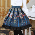 3 Colors 2016 Autumn new Women Classic Lolita Royal Skirt Vintage Style Knee length Empire Ruffles hem Fairy Tale COS Skirts
