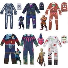 Dzieci chłopcy czaszka Trooper Raven Cosplay kombinezon kostium na Halloween bitwa królewski dzieci karnawał Purim ubrania zestaw 4 18 Y