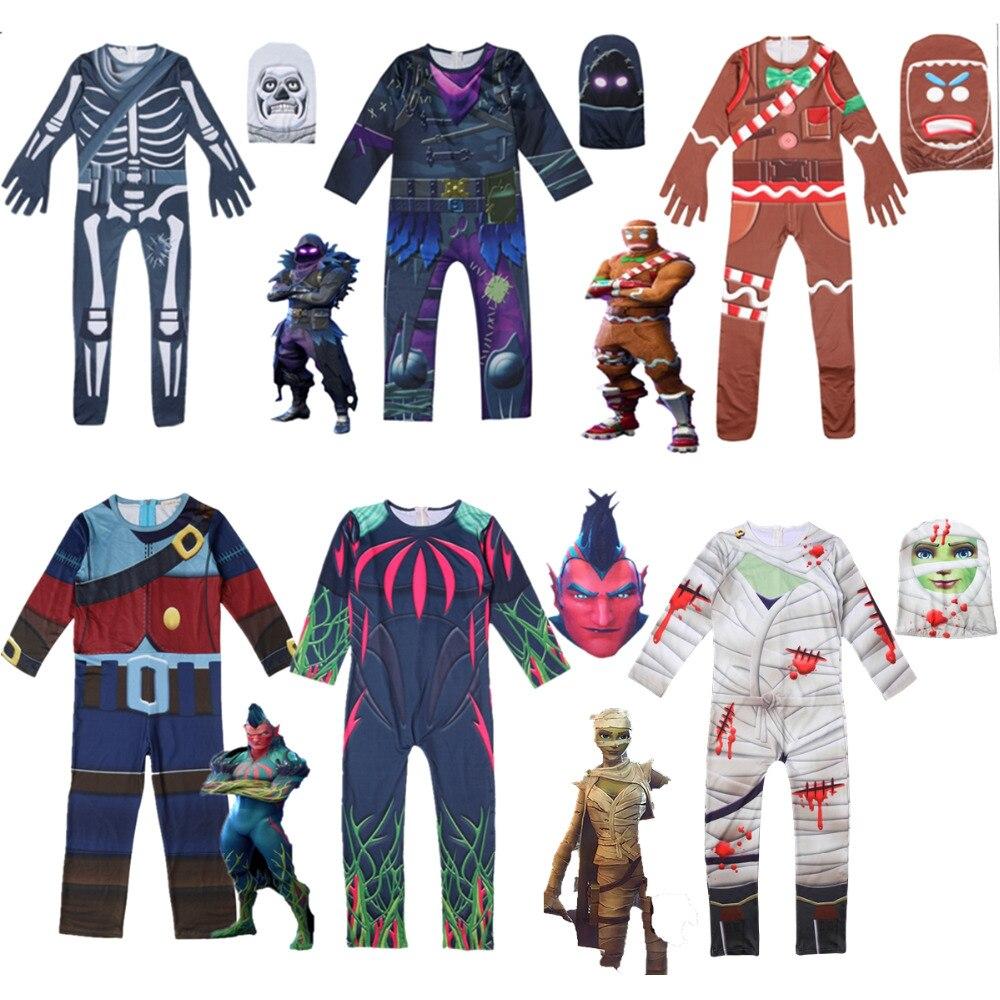 Kids Boys Skull Trooper Raven Cosplay Jumpsuit Halloween Party Costume Battle Royal Skeleton Children Carnival Clothing Age 4-18