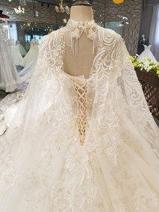Image 5 - LS54799 ยาว Cape งานแต่งงานชุดสร้อยคอ off ไหล่ sweetheart HOT ขายเจ้าสาวชุดแต่งงาน vestido de noiva blato Baro
