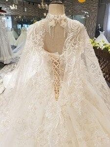 Image 5 - LS54799 lange cape hochzeit kleid mit kragen kette off schulter schatz heißer verkauf braut hochzeit kleid vestido de noiva barato
