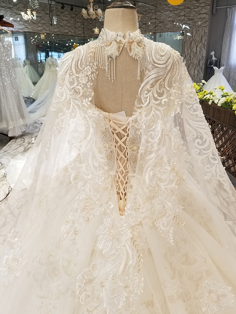 LS54799 luxury long cape wedding gown with collar chain off shoulder sweetheart hot selling bride wedding dresses free shipping in Wedding Dresses from Weddings Events