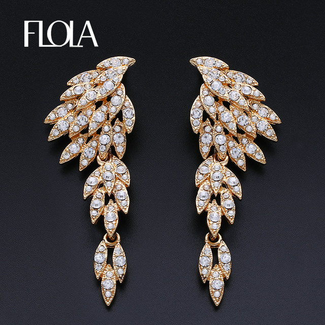 7ce455635eab Grandes pendientes largos de oro para mujeres pendientes de plumas de novia  pendientes de gota de