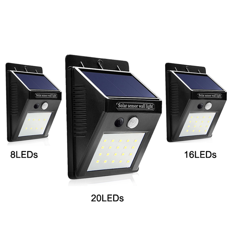 LED Solar Light 8 16 20 LEDS Solar Lamp Waterproof Solar Garden Light with PIR Motion Sensor for Outdoor Energy Saving Lighting