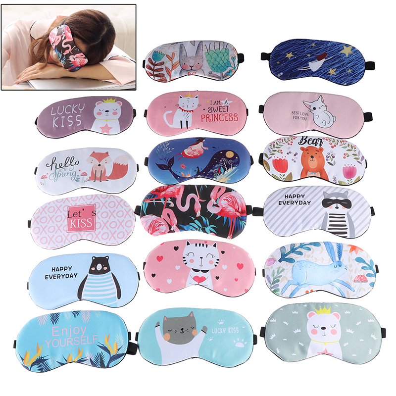 1pc Sleeping Mask Eyepatch Eye Cover Cotton Creative Lovely Cartoon For Eye Travel Relax Sleeping Aid Eye Patch Shading Eye Mask(China)