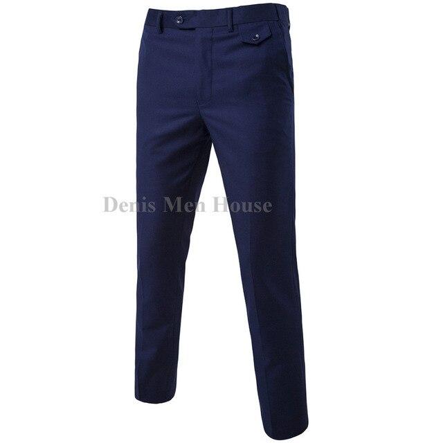 Новый 2018 высококачественный Для мужчин Чистый цвет Формальные Бизнес костюм Штаны качество мужской костюм для досуга Штаны брюки