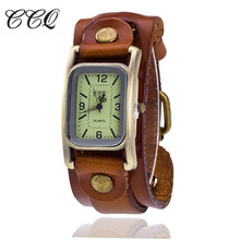 CCQ Luxurious Model Classic Rectangle Real Leather-based Bracelet Girls WristWatch Informal Vintage Quartz Watch Relogio Feminino 1846