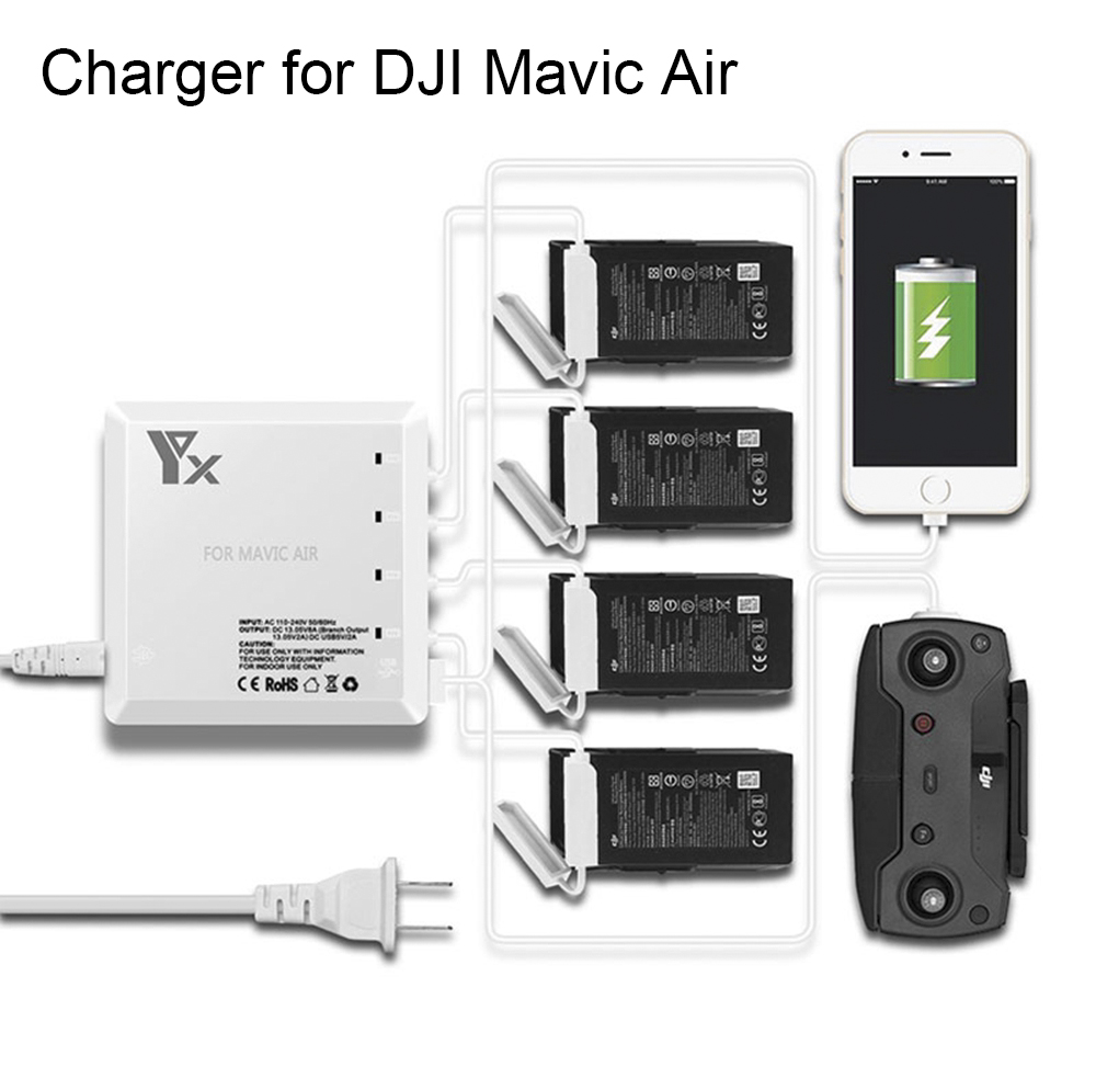 цена на 6 in 1 Multi Charger for DJI Mavic Air Drone Battery Charging Hub Intelligent Smart Battery Charger with USB Port for Controller