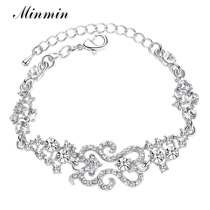 Minmin Klasik Desain Gelang Warna Silver Kristal Tautan Gelang Pengantin untuk Wanita Fashion Bangles Aksesoris Pernikahan SL023