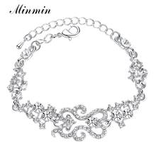 Classical Design Bracelet White K Plated Crystal Link Bridal Bracelets for Women Fashion Bangles Wedding Accessories SL023