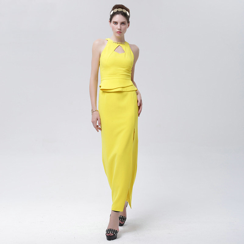 Gaine Et Halter Taille Évider Conduites Sur Femmes De Style Robe Jaune Slolid Mode Manches Carburant Mesure Personnalisé Sans UMVqpSzG