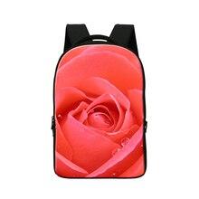 2016 компьютер рюкзак для женщин 14 »ноутбук рюкзак для девушки, 3d мешок школы для подростков, цветок школьные сумки для подростков