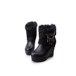 Image 4 - Cuculus 2020 Winter Faux Fur Fashion Wedges Heels Women Shoes Woman Boots Platform Warm Snow Luxury Femme Ladies Boot White 1034