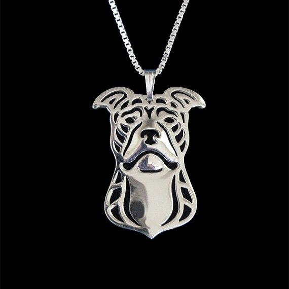 Питбультерьер (природные уши) -золотой и серебряный кулон и ожерелье ювелирные простые абстрактные животного Бесплатная доставка 12 шт./лот