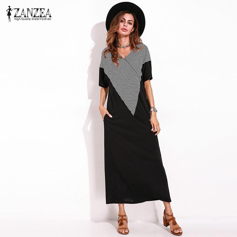 74f8d59f7f5 ZANZEA Для женщин летние шорты рукавом Свободные Черный Макси Цельнокройное  платье-Футболка женская Винтаж элегантные
