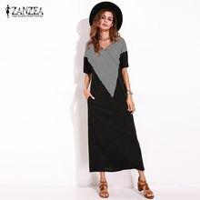 de58f4412a71 ZANZEA Women Summer Short Sleeve Loose Black Maxi Shift T-shirt Dress Boho  Ladies Vintage Elegant Straight Dresses Baggy Kaftan
