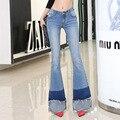 2017 nuevo empalme de la moda luz blue jeans skinny fácil flare jeans femme plus tamaño 2xl pantalones de mezclilla de las mujeres