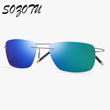 Fashion Polarized Sunglasses Men Driver Rimless Super-Light Sun Glasses Brand Designer For Male Driving Mirror Oculos YQ167