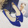 Blue Sexy Pointed Toe Women's Low Heel D'Orsay Shoes Flock Spike Heels Pumps For Woman Ladies Single Shoes Casual Lady Shoes