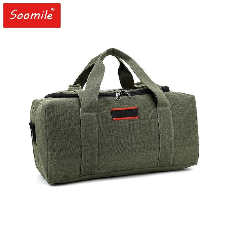 Soomile Wear-resistant canvas Travel bag High capacity men duffle bags 2018 new Big Travel Handbag Folding Trip Bag Waterproof