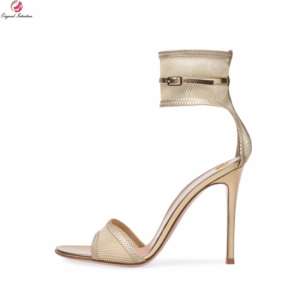 Original Intention Women Sandals Super Sexy Buckle Strap Open Toe Thin High Heels Sandals Black Gold Shoes Woman US Size 4-14 original intention super sexy women sandals fashion open toe thin high heels sandals nice black shoes woman plus us size 4 20
