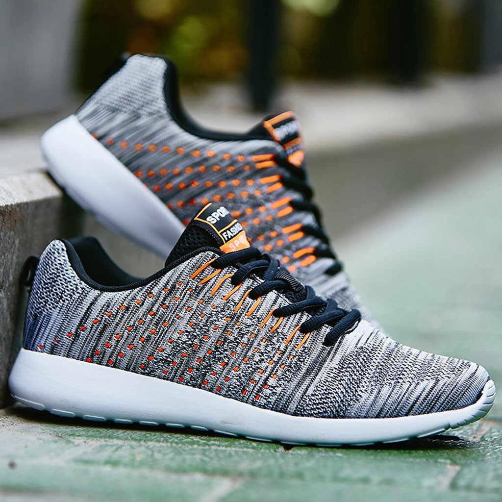 2019 новые сетчатые Для мужчин повседневная обувь лак на шнуровке; легкая мужская обувь удобная дышащая прогулочная теннисные кроссовки Feminino Zapatos # N4