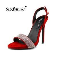 New Thời Trang Ngọt Ngào Nữ Rhinestone Flock Mở Toe Thin Cao gót Sandals Red Đảng Giày Cưới Ankle Strap Dress Pums đen