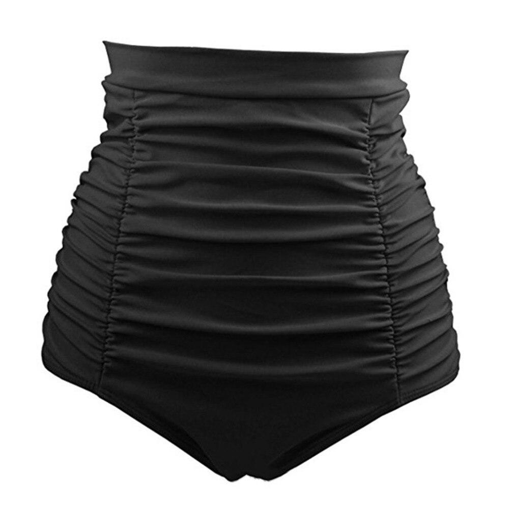 European American Fashion Black Draped Beachwears Sexy Women Vintage Quick Drying High Waist Women Shorts Beach Suits