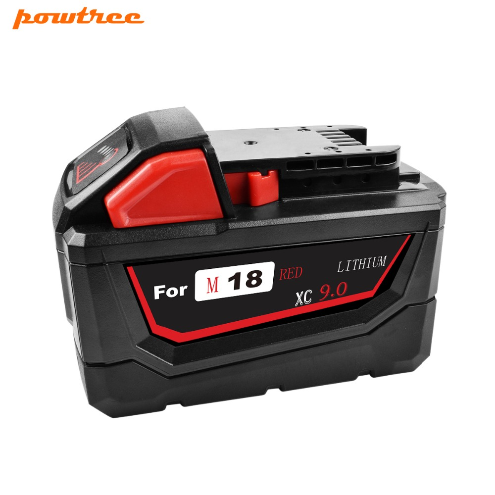 Powtree For Milwaukee 9000mAh 18V M18 Power Tools Rechargeable Li-ion Battery Replacement 48-11-1815 48-11-1850 48-11-1840Powtree For Milwaukee 9000mAh 18V M18 Power Tools Rechargeable Li-ion Battery Replacement 48-11-1815 48-11-1850 48-11-1840