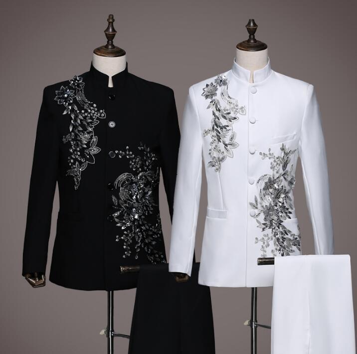 Neuesten white Blazer Formale Tunika Anzug Der Anzüge Für hose Männer Masculino Equins Kleid Schwarzes Mantel Ehe Chinesischen Designs Terno Hosen WdxBrCoe
