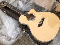 free shipping Byron BY 614N solid spruce flame maple guitar one piece real pearl binding Grand Auditorium Electro Acoustic guita