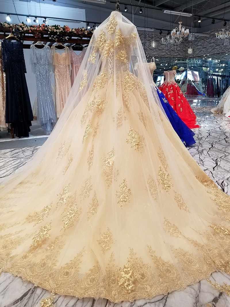 LS09610 платье люксзолотой Сексуальная с плеча Лодка шеи Блестящие нарядное платье 2018 с длинными veil Шампанское Свадебное торжественное платье Бесплатная доставка