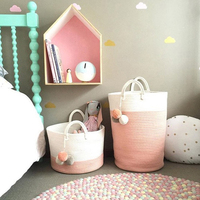 INS Cotton Rope Woven Storage Baskets Handmade Knitting Rattan Dirty Cloth Laundry Basket With Handles Kids