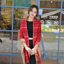 Wholesale Plaid Cashmina Scarf Chic Brand Echarpe Hiver Femme Women Causal Tartan Oversized Blanket Scarf YJWD434